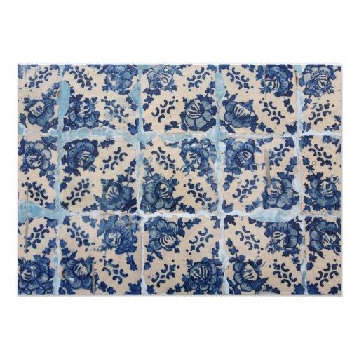 Portuguese Azulejo tiles 5x7 Paper Invitation Card