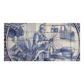 Portuguese azulejo tiles photo card