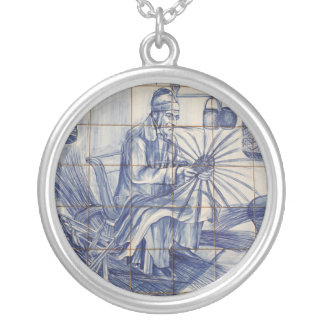 Portuguese azulejo tiles round pendant necklace