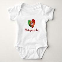 Portuguese: baby heart & flag baby bodysuit
