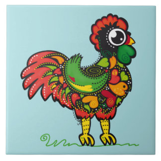 Portuguese Barcelos Lucky Rooster Ceramic Tile