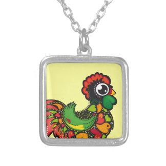 Portuguese Barcelos Rooster Square Pendant Necklace
