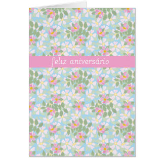 Portuguese Birthday Card: Pink Dogroses on Blue Card