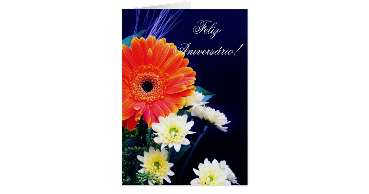 Portuguese Birthday card with flowers – Portuguese Birthday Cards