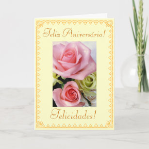 Portuguese Birthday Flowers Card