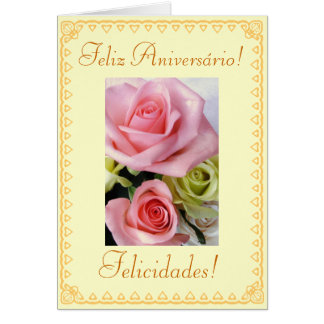Portuguese: Birthday flowers Greeting Card