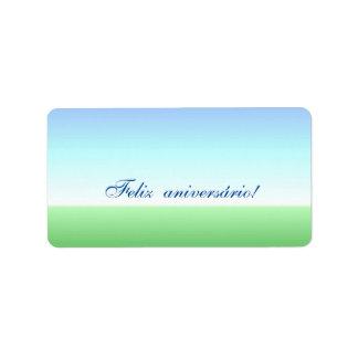 Portuguese Birthday Green Blue Label