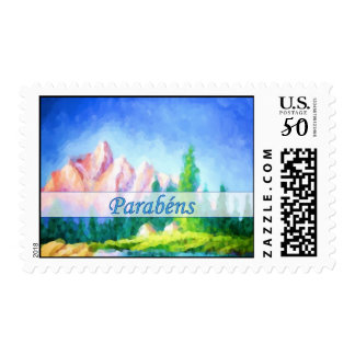 Portuguese Birthday Pink Mountain Painting Stamp