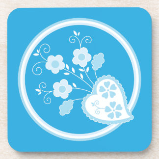 Portuguese blue heart and flowers beverage coasters
