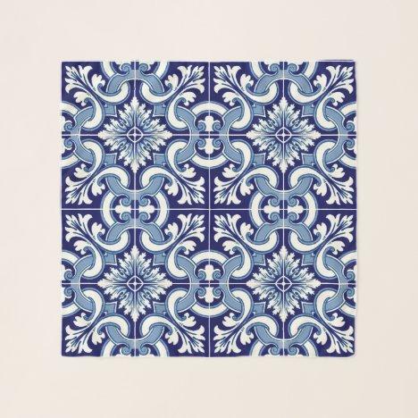 Portuguese blue tile scarf