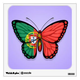 Portuguese Butterfly Flag on Purple Wall Decal