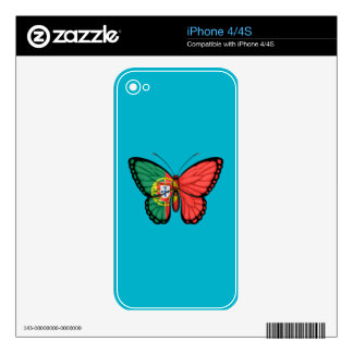 Portuguese Butterfly Flag iPhone 4 Decals