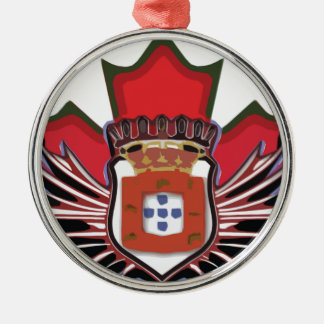 Portuguese canadian color round metal christmas ornament
