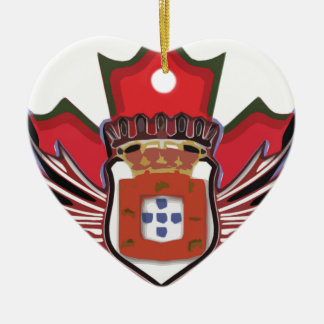 Portuguese canadian color Double-Sided heart ceramic christmas ornament