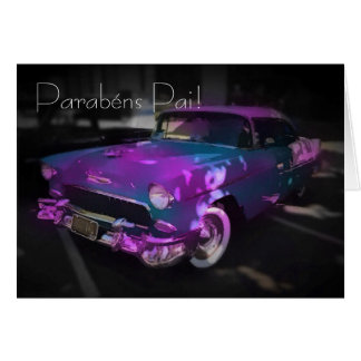 Portuguese: carro azul e rosa card
