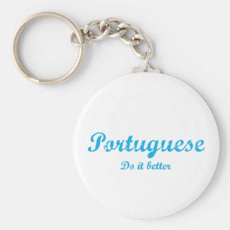 Portuguese  do it better basic round button keychain
