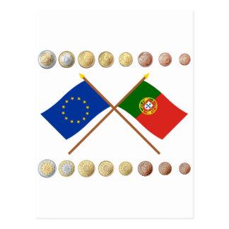Portuguese Euros and EU & Portugal Flags Postcard