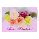 Portuguese: Felicidades! roses and Lilac colors Cards