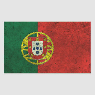 Portuguese Flag Aged Steel Effect Rectangular Sticker