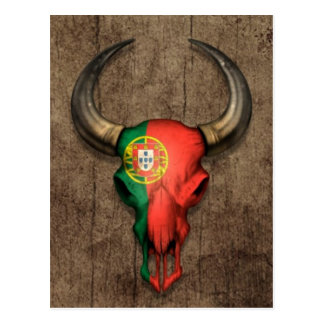 Portuguese Flag Bull Skull on Wood Effect Postcard