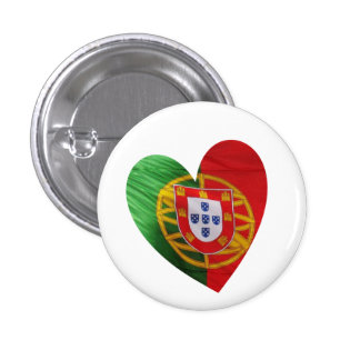 Portuguese: flag & heart 1 inch round button