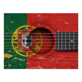 Portuguese Flag on Old Acoustic Guitar Poster