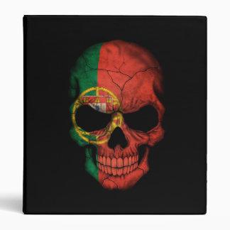 Portuguese Flag Skull on Black Vinyl Binder