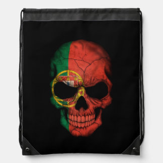 Portuguese Flag Skull on Black Drawstring Bag