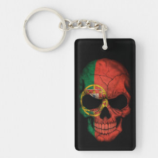 Portuguese Flag Skull on Black Keychain