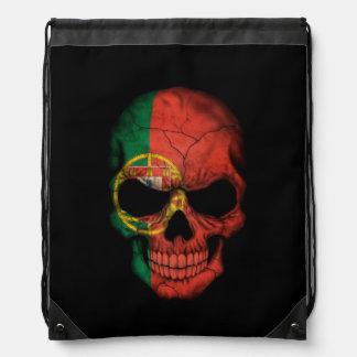 Portuguese Flag Skull on Black Drawstring Backpack