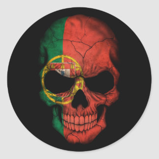 Portuguese Flag Skull on Black Round Sticker