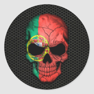 Portuguese Flag Skull on Steel Mesh Graphic Classic Round Sticker