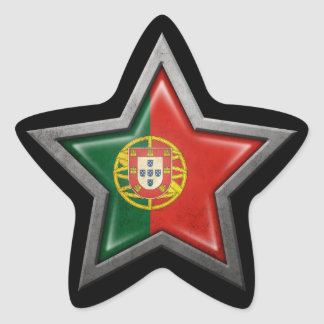 Portuguese Flag Star on Black Star Sticker