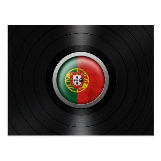 Portuguese Flag Vinyl Record Album Graphic Postcard