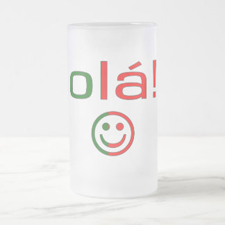 Portuguese Gifts : Hello / Ola + Smiley Face Frosted Glass Beer Mug