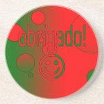 Portuguese Gifts Thank You Obrigado + Smiley Face Coaster