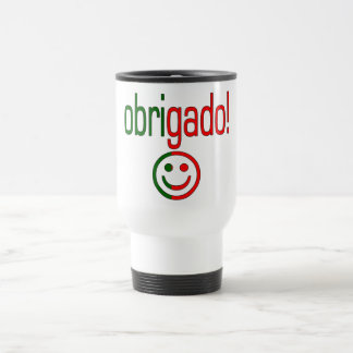 Portuguese Gifts Thank You Obrigado + Smiley Face 15 Oz Stainless Steel Travel Mug