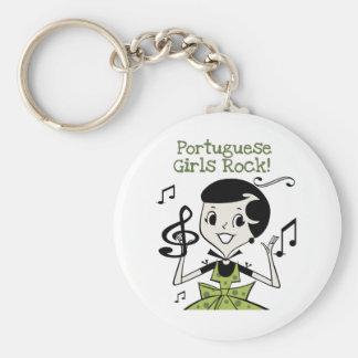 Portuguese Girls Rock Basic Round Button Keychain