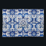 """Portuguese Glazed Tiles Azulejo Style Kitchen Towel<br><div class=""""desc"""">Portuguese Glazed Tiles Azulejo Style floral pattern in blue and white transported to the surface of a Kitchen Towel, preserving its history and tradition. Azulejo is a form of Portuguese or Spanish painted, tin-glazed, ceramic tilework. It has become a typical aspect of Portuguese culture. Portugal imported azulejo tiles from Spain,...</div>"""