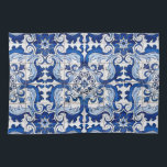 "Portuguese Glazed Tiles Azulejo Style Kitchen Towel<br><div class=""desc"">Portuguese Glazed Tiles Azulejo Style floral pattern in blue and white transported to the surface of a Kitchen Towel, preserving its history and tradition. Azulejo is a form of Portuguese or Spanish painted, tin-glazed, ceramic tilework. It has become a typical aspect of Portuguese culture. Portugal imported azulejo tiles from Spain,...</div>"