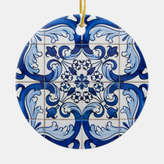 Portuguese Glazed Tiles Double-Sided Ceramic Round Christmas Ornament