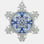 Portuguese Glazed Tiles Snowflake Pewter Christmas Ornament at Zazzle