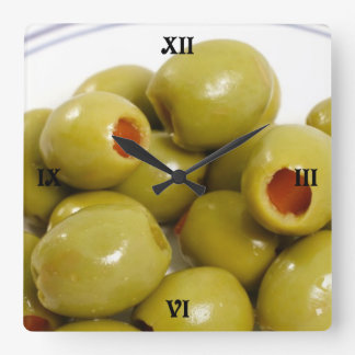 Portuguese green olives square wall clock