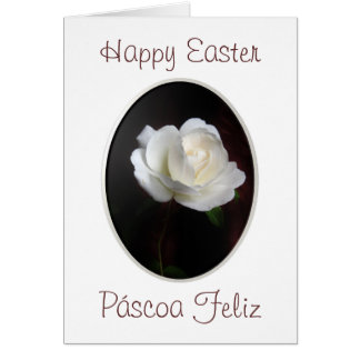 Portuguese: Happy Easter white rose Card