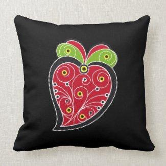 Portuguese Heart - black red pillow throwpillow