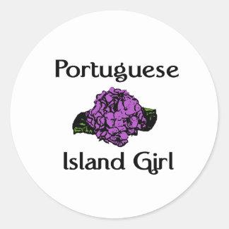 Portuguese Island Girl Purple Hydrangea Round Stickers