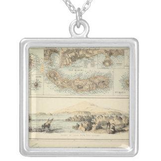 Portuguese Islands in the Atlantic Ocean Square Pendant Necklace