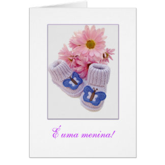 Portuguese: It's a Girl! É uma menina! 1 Greeting Card
