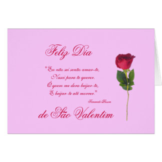 Portuguese: love poem and red rose-Valentine's day Card