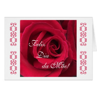 Portuguese: Mother's day red rose Card